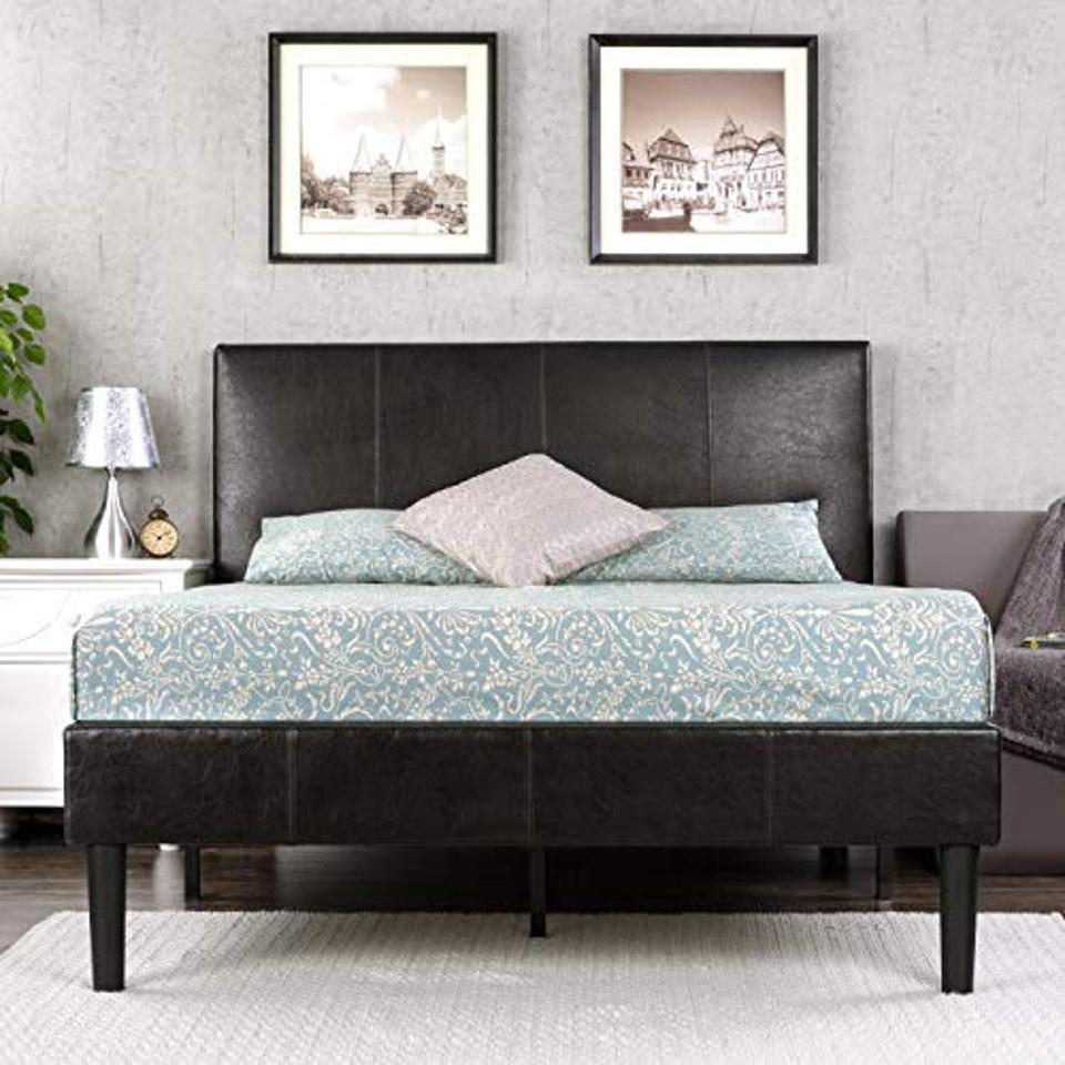 Zinus Gerard Faux Leather Upholstered Platform Bed Frame, Queen