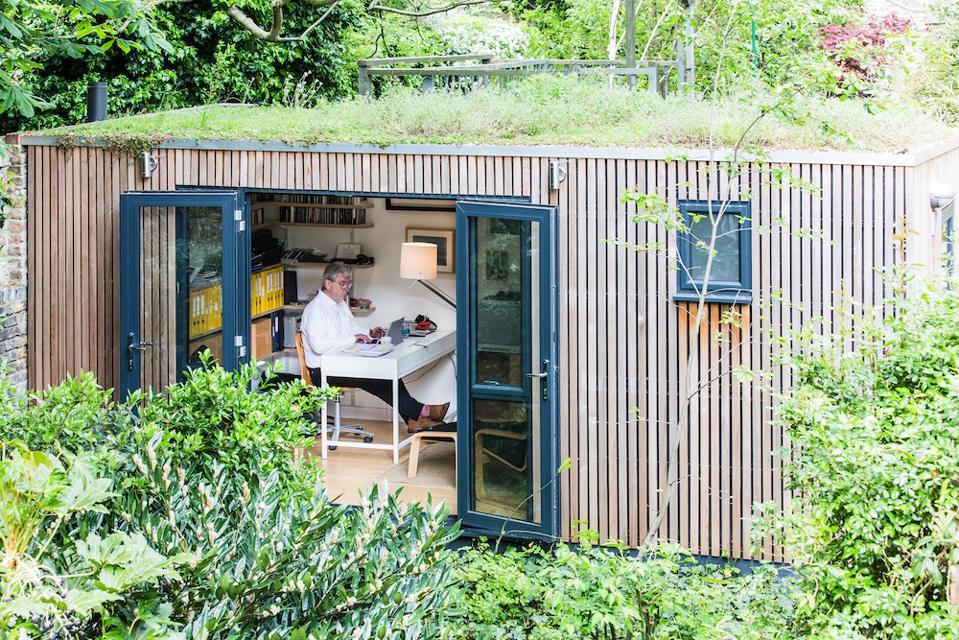 Ben Derbyshire in his garden office.