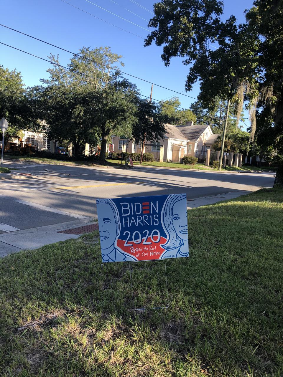 A sign by Panhandle Slim in Savannah, Georgia, for the 2020 Presidential election.