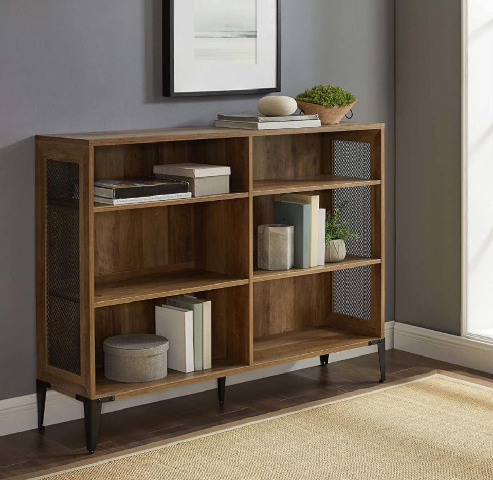 Walker Edison 3 Tier Industrial Wood and Metal Mesh Bookcase