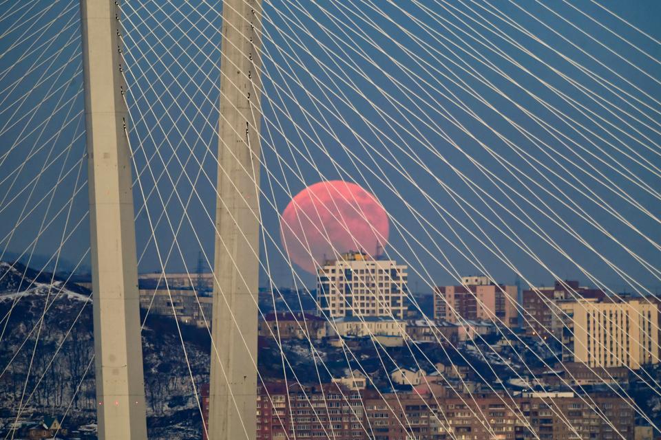 Full moon over Vladivostok, Russia