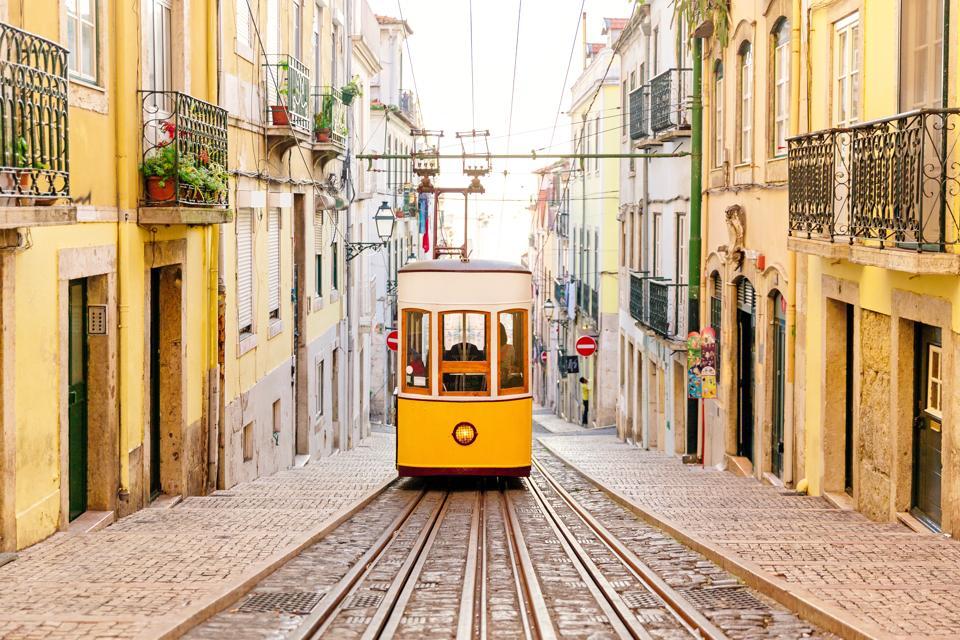 Elevador da Bica funicular in Lisbon, Portugal