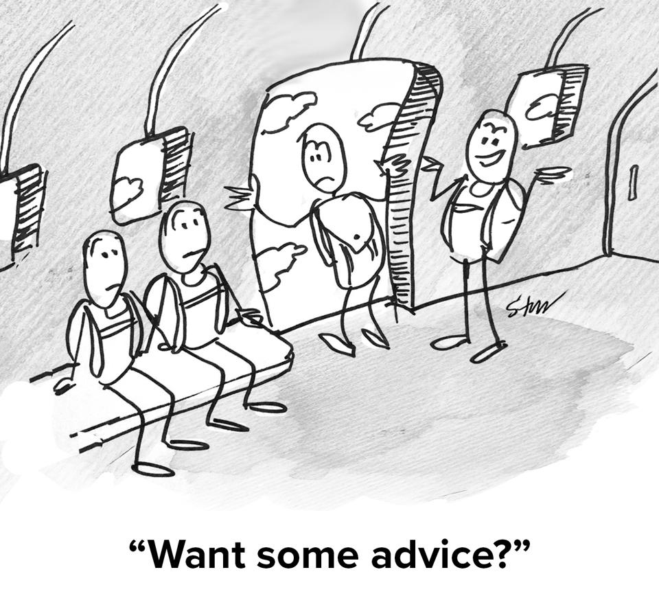 A guy is standing at the open door of a plane with a parachute on looking scared and the guy behind him is asking ″Want some advice?″