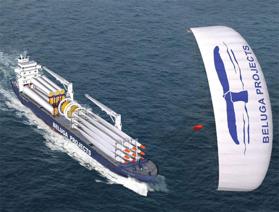 German Cargo Ship, The Beluga, being powered by a Skysails' Kite