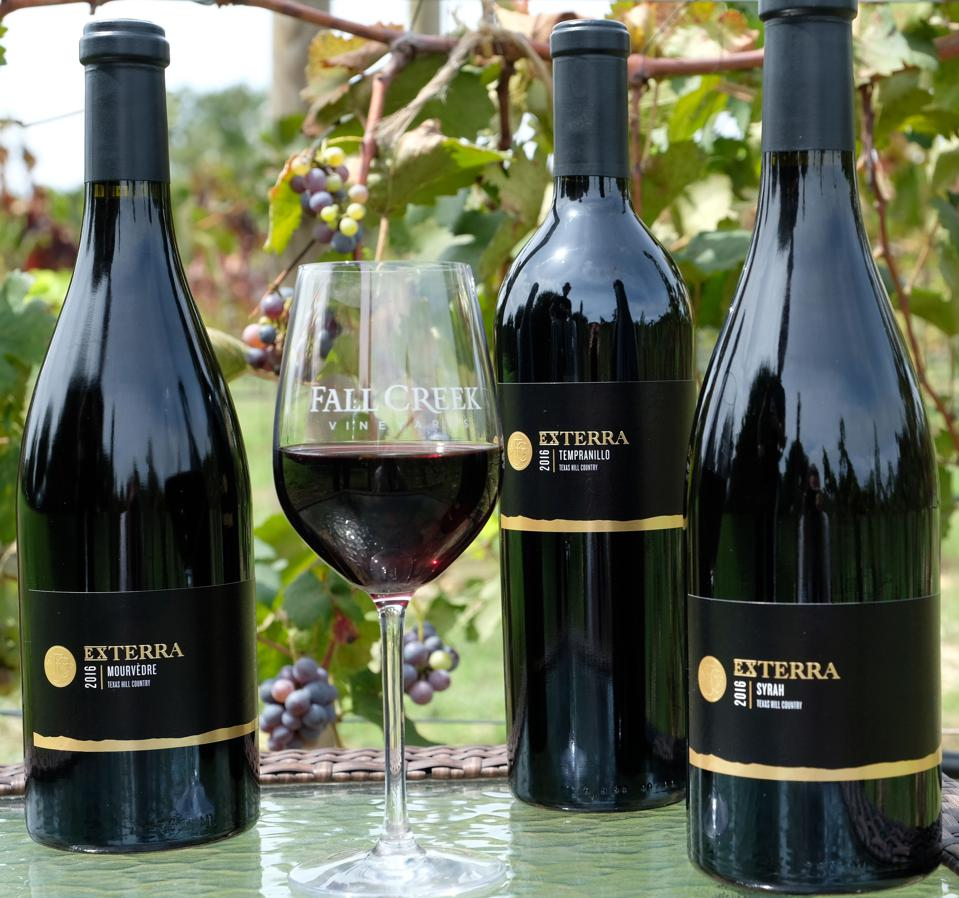 Bottles of ExTerra wines by Fall Creek Vineyards.