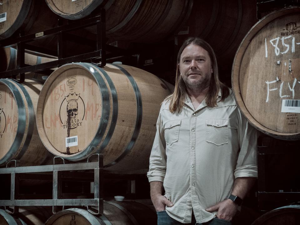 winemaker Josh Fritsche in the barrel room.