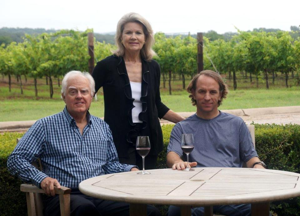Ed and Susan Auler, owners of Fall Creek Vineyards, with director of wine operations Sergio Cuadra.