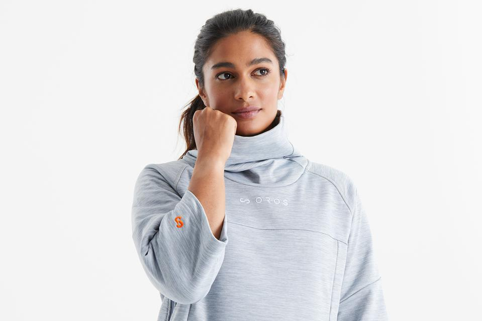 woman modeling pullover