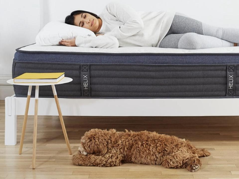 Woman sleeping on a Helix Midnight LUXE mattress with her brown curly dog on the floor next to her.