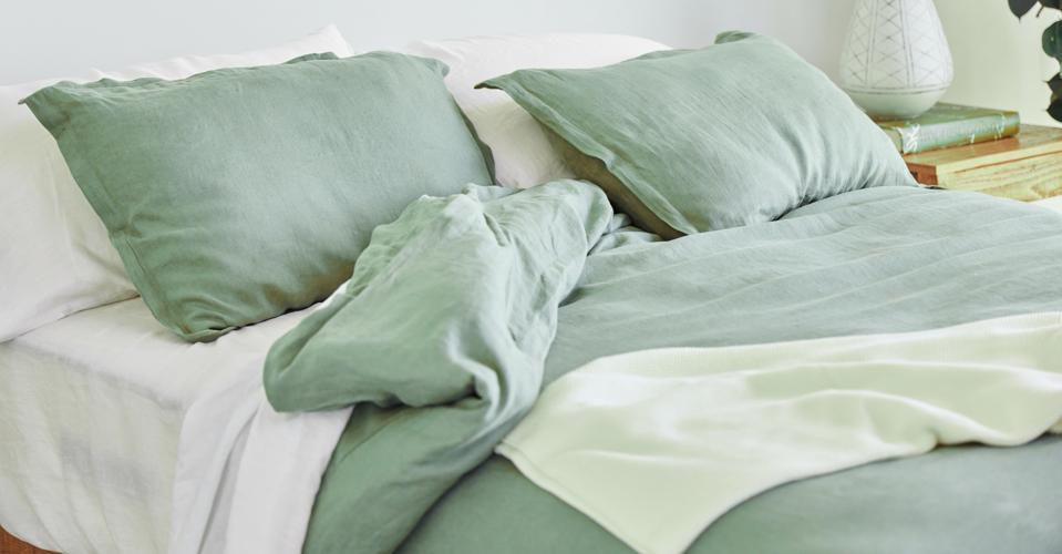 Avocado Organic Linen Duvet Cover