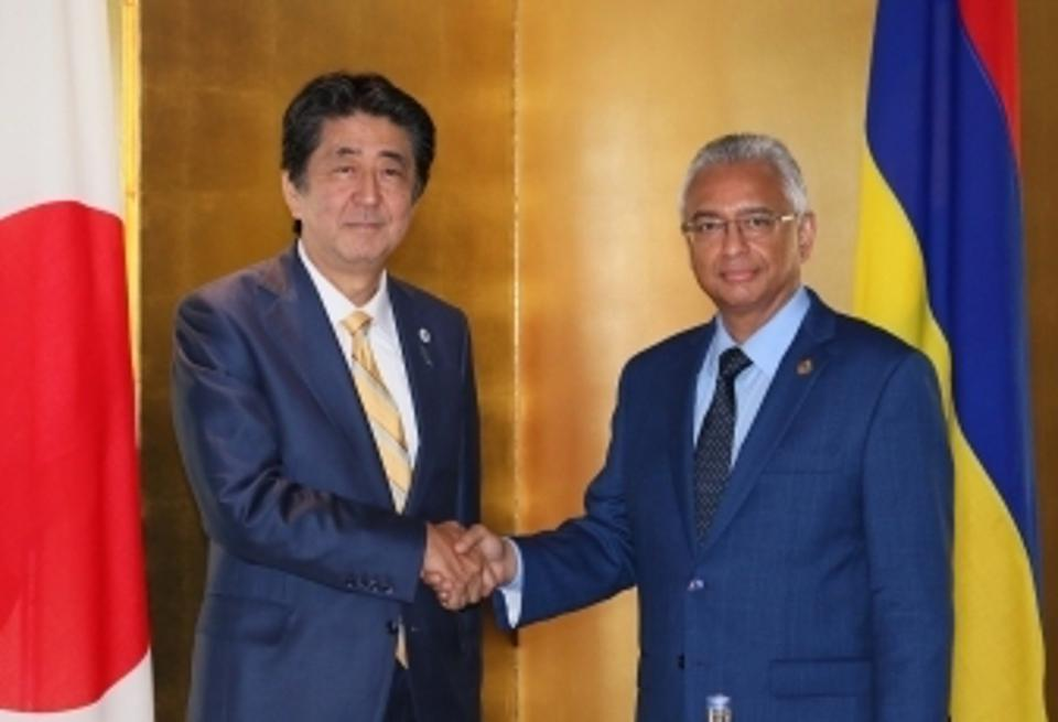 29 Aug 2019: Japan's Prime Minister Abe and Mauritius Prime Minister Pravind Jugnauth holding bilateral talks in Tokyo