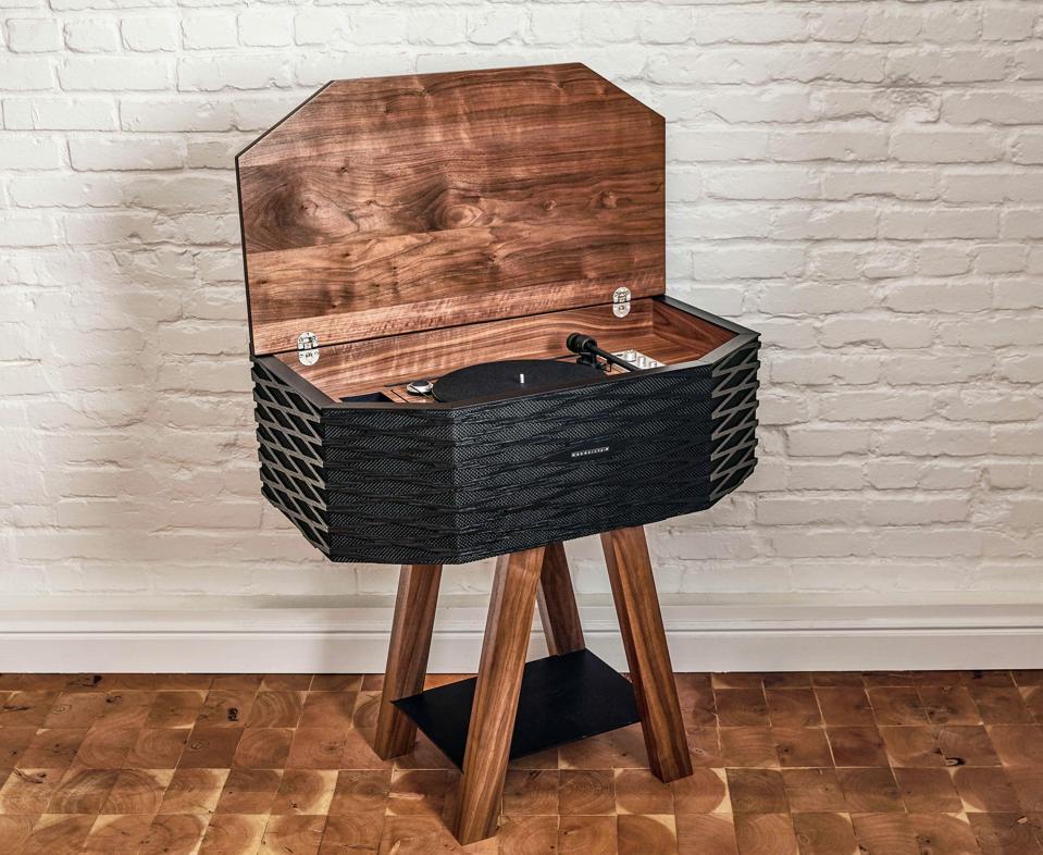 A wooden speaker system.
