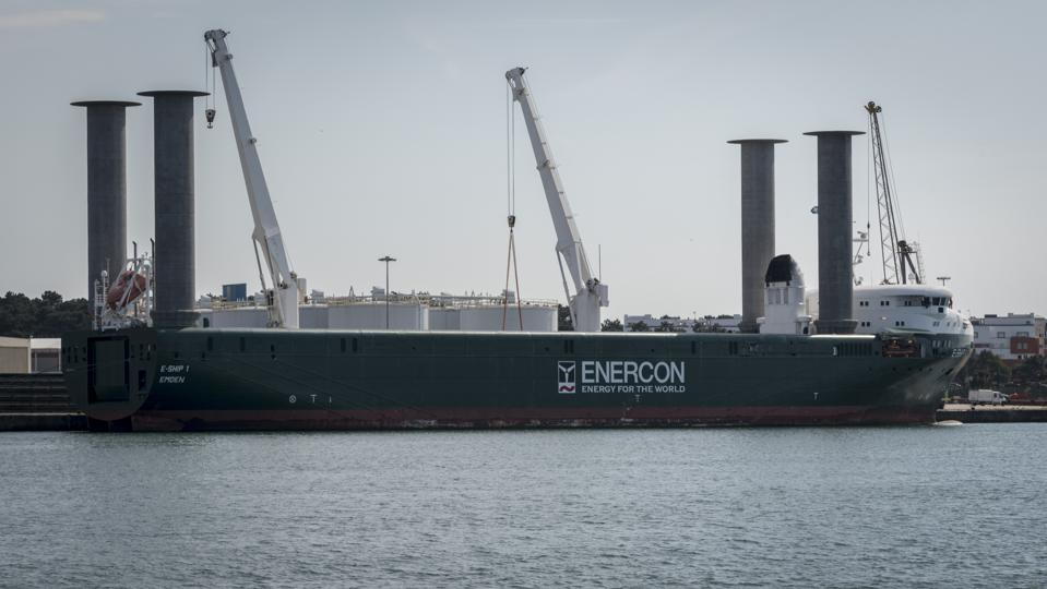 The use of rotor sails appears unusual at first glance.  Seen here, the E-Ship 1 in Portugal, with four cylindrical rotor sails.
