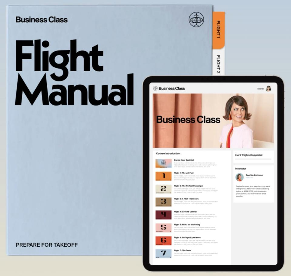 The Bussiness Class has seven flights/modules that cover everything from marketing to legal.