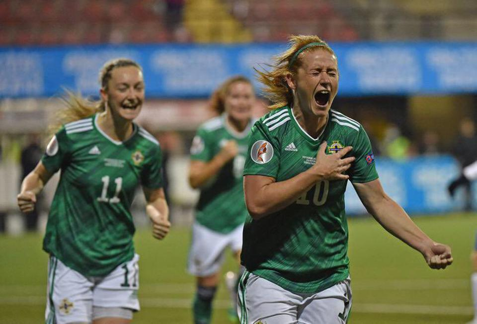 Rachel Furness celebrates after scoring from the penalty spot for Northern Ireland