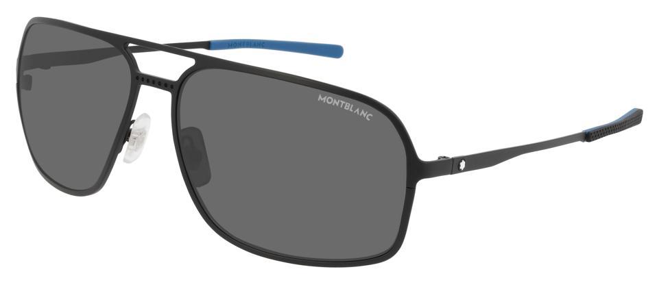 Montblanc Rectangular Black Metal Frame Sunglasses