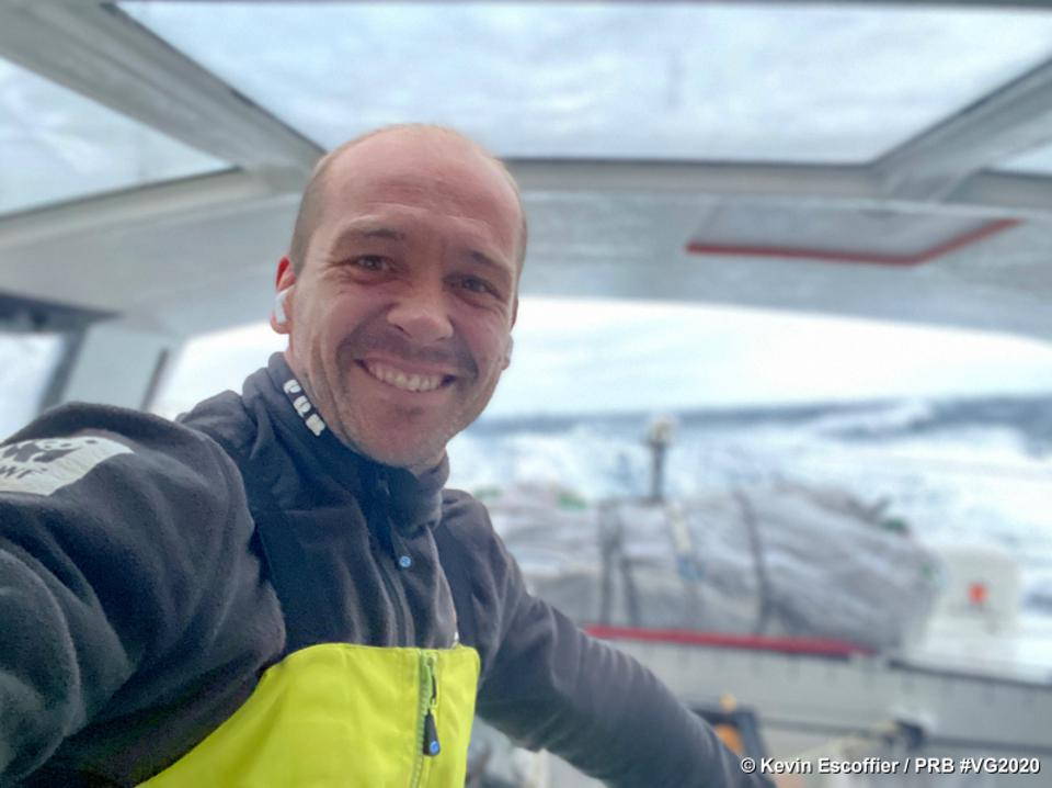 Skipper Kevin Escoffier in the boat PRB