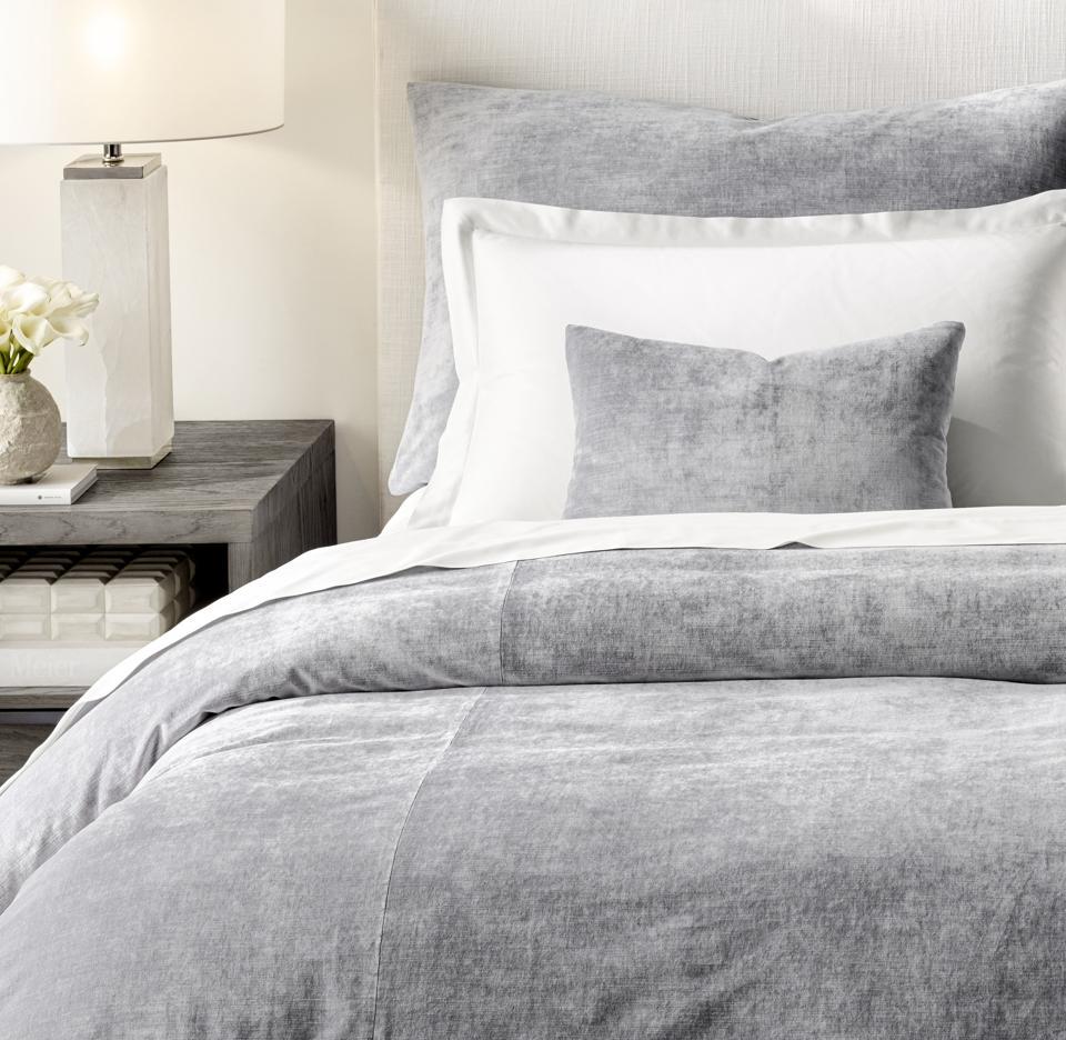RH Lustrous Velvet Collection gray sheets