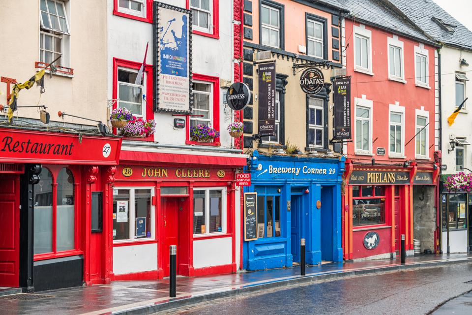 Colorful pubs and restaurants in Kilkenny Ireland