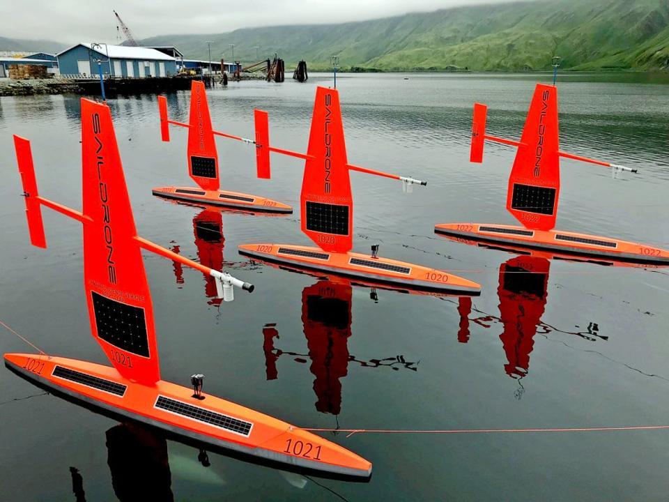 A fleet of Saildrone gliders in the Arctic of Alaska