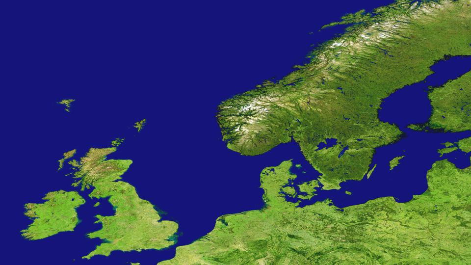 UK and Scandinavia. Image obtained using the MODIS sensors, Physical geography of Europe