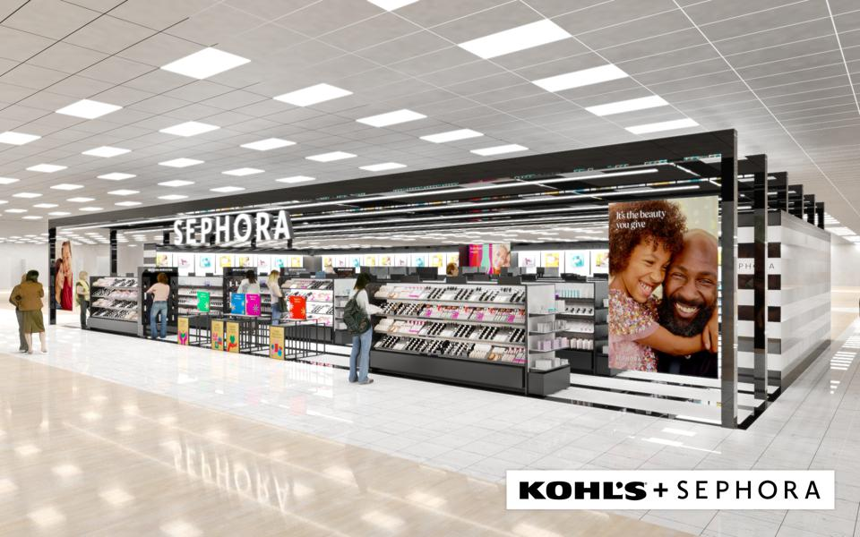 A rendering of a Sephora at Kohl's bears the black and white design treatment of the beauty specialty retailer.