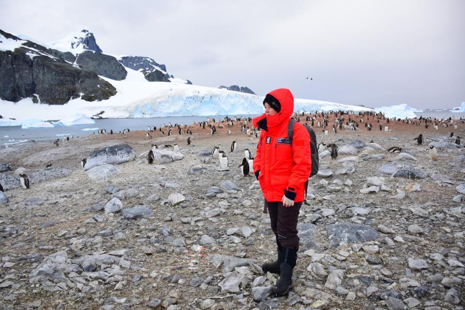 Solo Female Travelers Co-founder Meg Jerrard in Antarctica.
