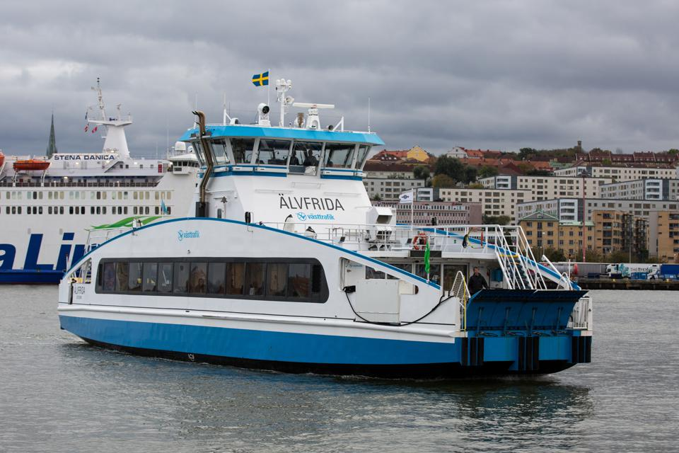 GOTHENBURG, SWEDEN - 2019/10/07: An electrically powered passenger ferry belonging to the Government agency responsible for public transport in Gothenburg.