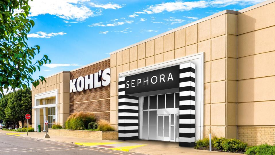 Sephora's dedicated entrance is seen on the Kohl's facade.