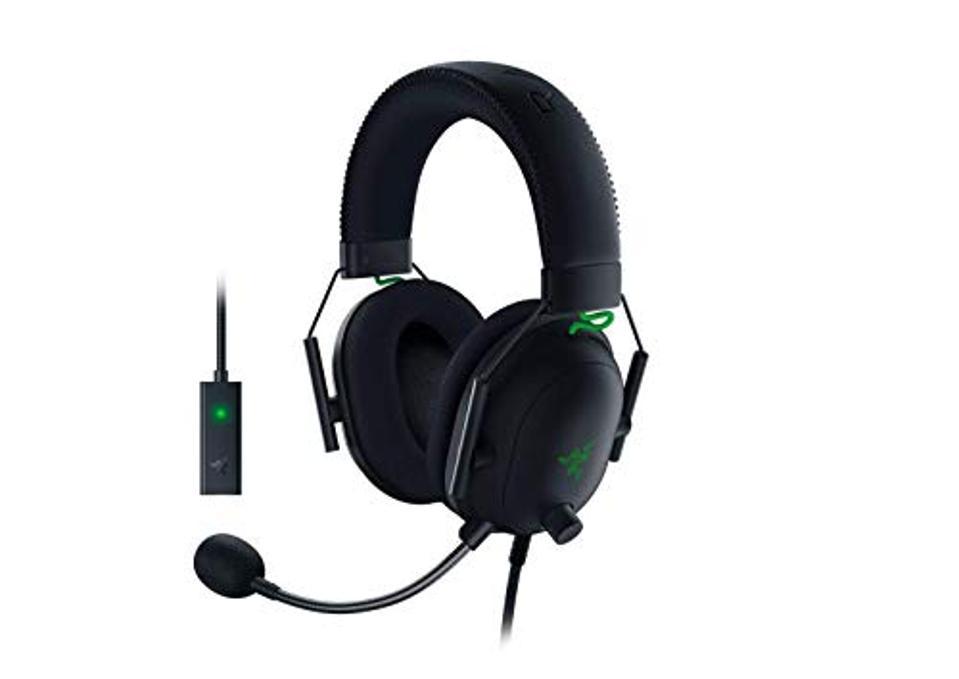 Razer BlackShark V2 gaming headset in black and green