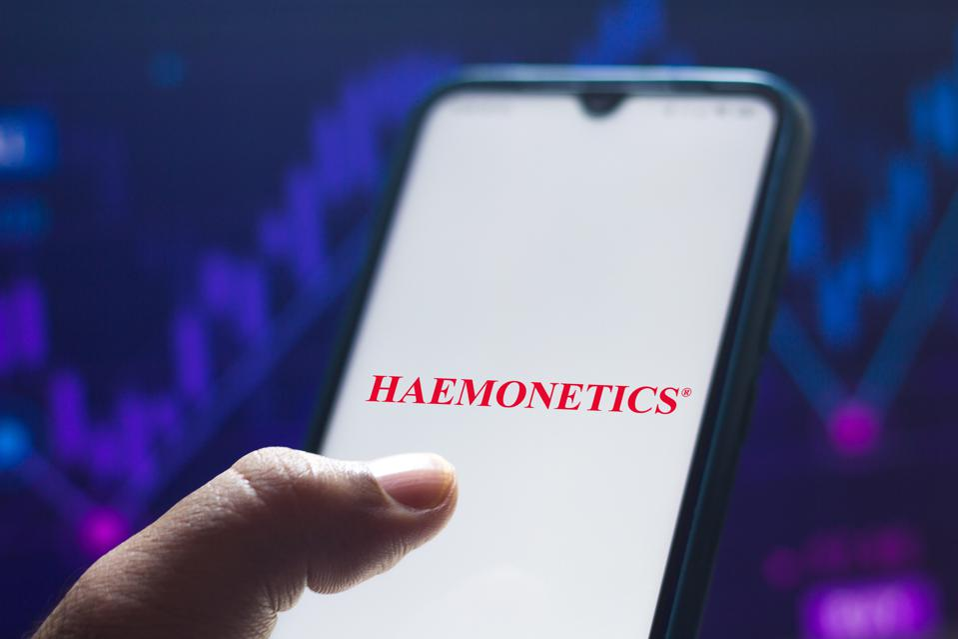 In this photo illustration the Haemonetics Corporation logo...
