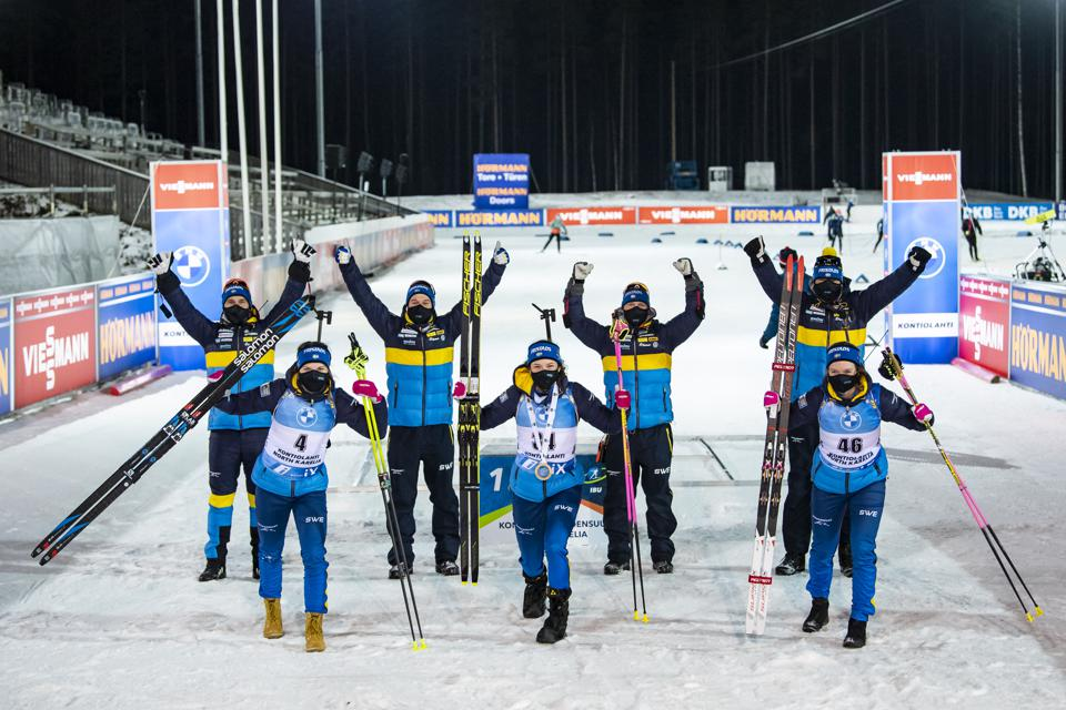 A fully-masked Swedish women's biathlon team competing in Kontiolahti, Finland on 29 November.