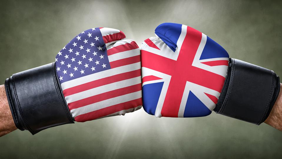 Boxing gloves showing fight between the USA and the UK