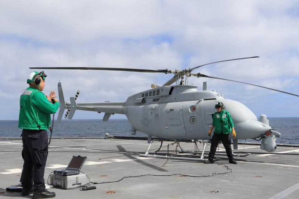 Drone helicopter on ship