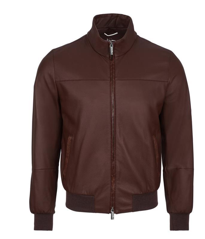 Bijan Cognac Deer Skin and Alligator Leather Pilot Jacket