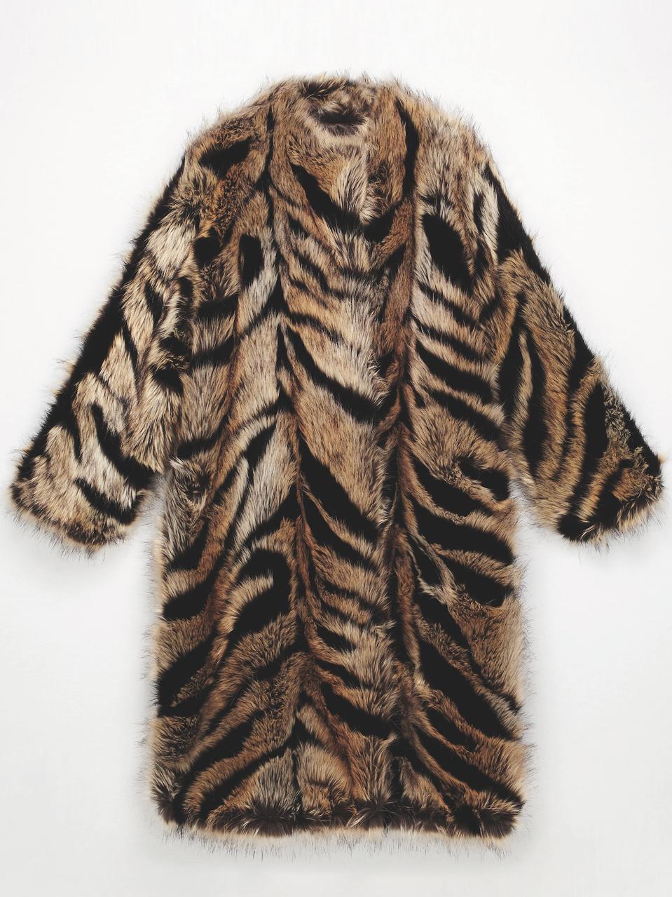 ST.JOHN Faux Fox Fur Lined Coat