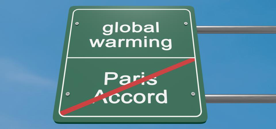 Environment Protection Road Sign: Global Warming And Withdrawal From The Paris Accord, 3d illustration