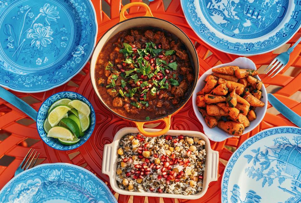Moroccan food and blue plates