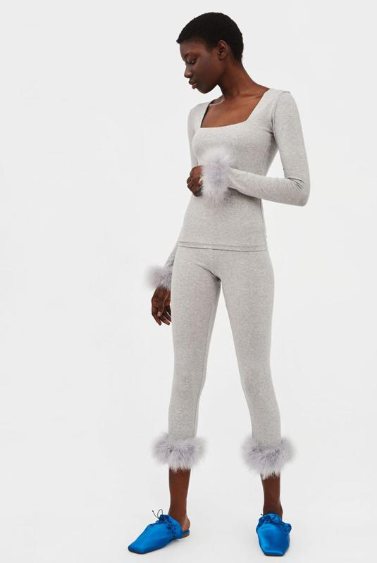 Sleeper feather-trimmed jersey pajama set