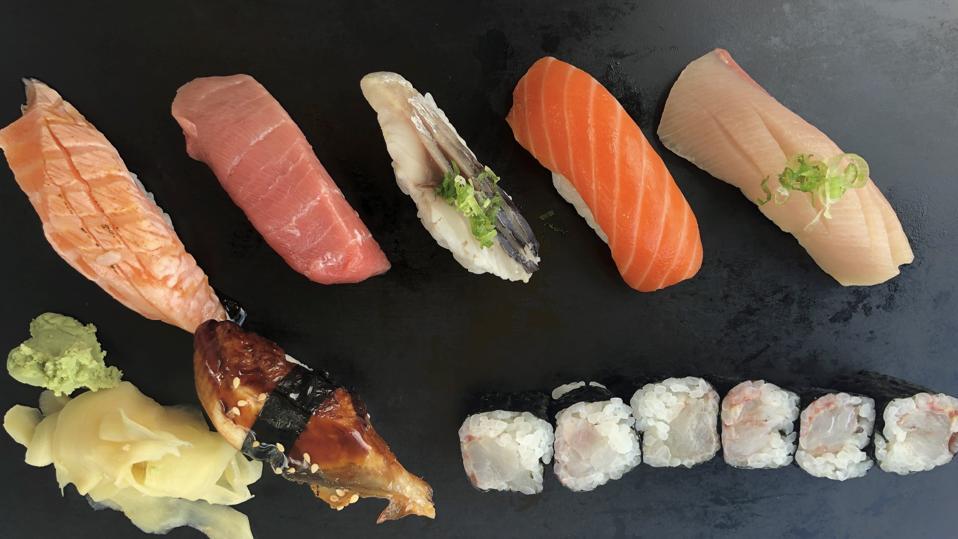 A plate of nigri sushi