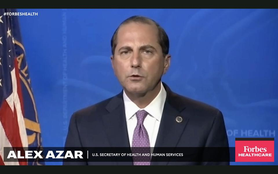 HHS Secretary Alex Azar speaks at the 2020 Forbes virtual Healthcare Summit