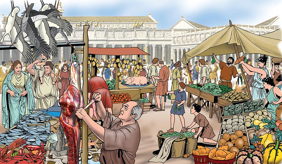 Marketplace in ancient Rome.