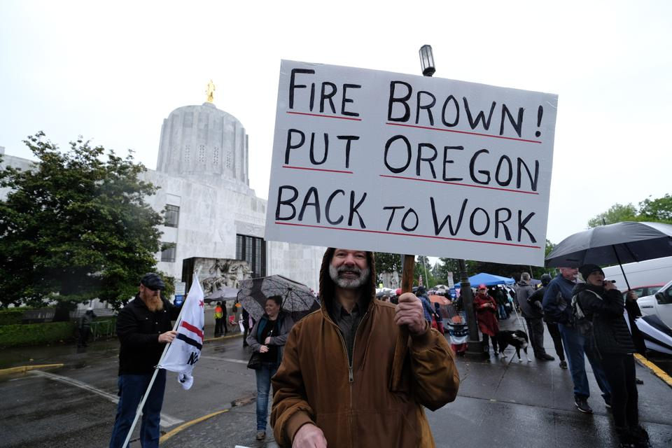 Protesters at the Re-Open Oregon Rally on May 2, 2020 in Salem, Oregon, United States.