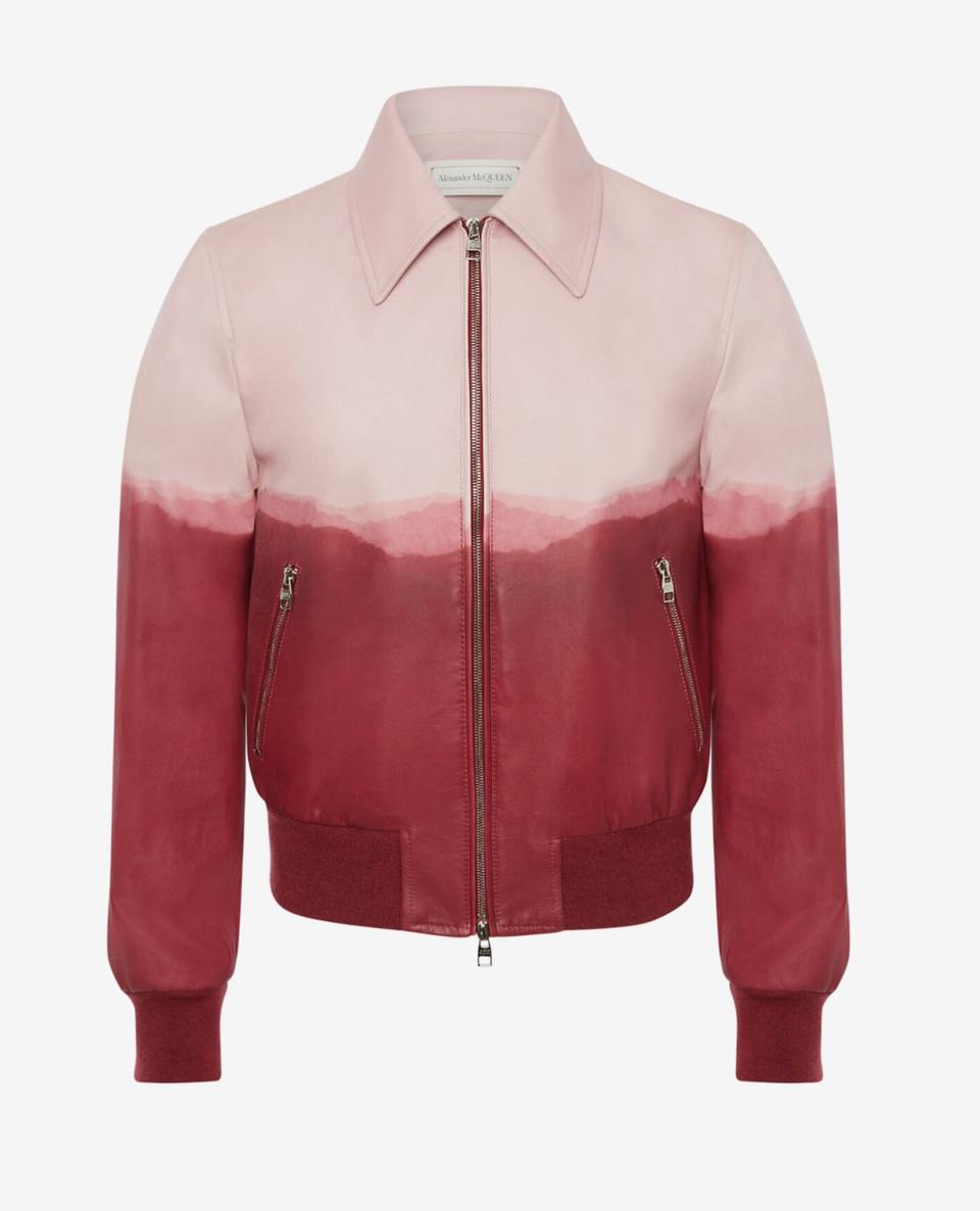 Bomber jacket in soft lambskin with an enginee