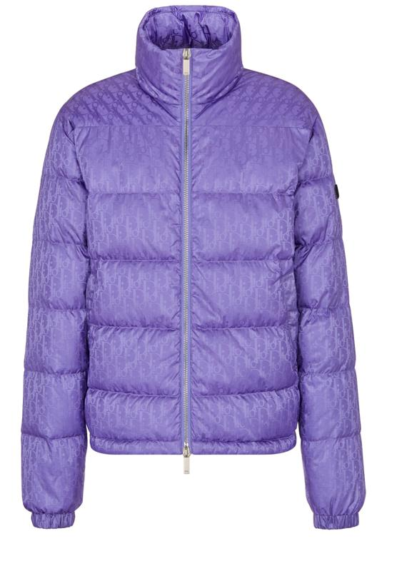 Purple Technical Fabric Jacquard Dior Oblique Down Jacket $2,500 Available on Dior.com and select Dior boutiques nationwide 1 800 929 Dior