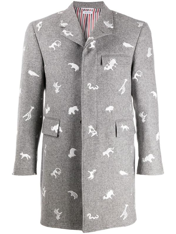 Thom Browne, medium grey melton wool animal icon embroidered classic chesterfield overcoat.