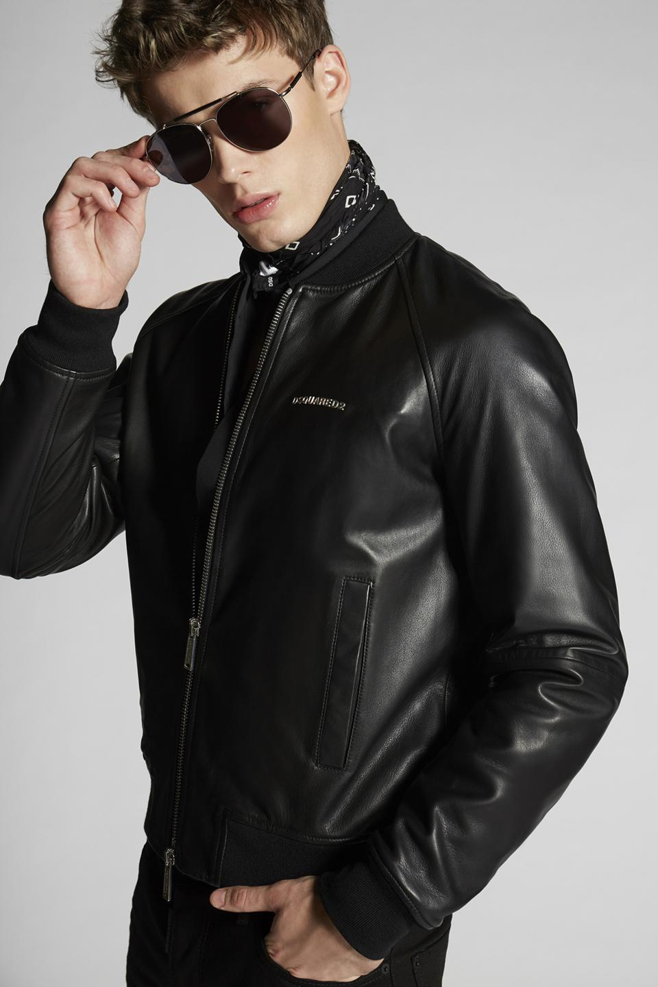 DSQUARED2 Track Bomber Leather Jacket