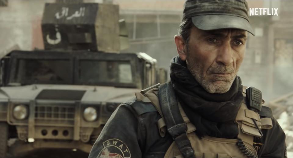 Iraqi actor Suhail Dabbach portrays a grizzled warrior in 2020 Netflix film Mosul.