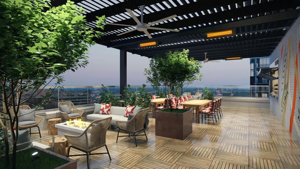 Outdoor seating at Juniper Restaurant at AC Hotel Greenville.