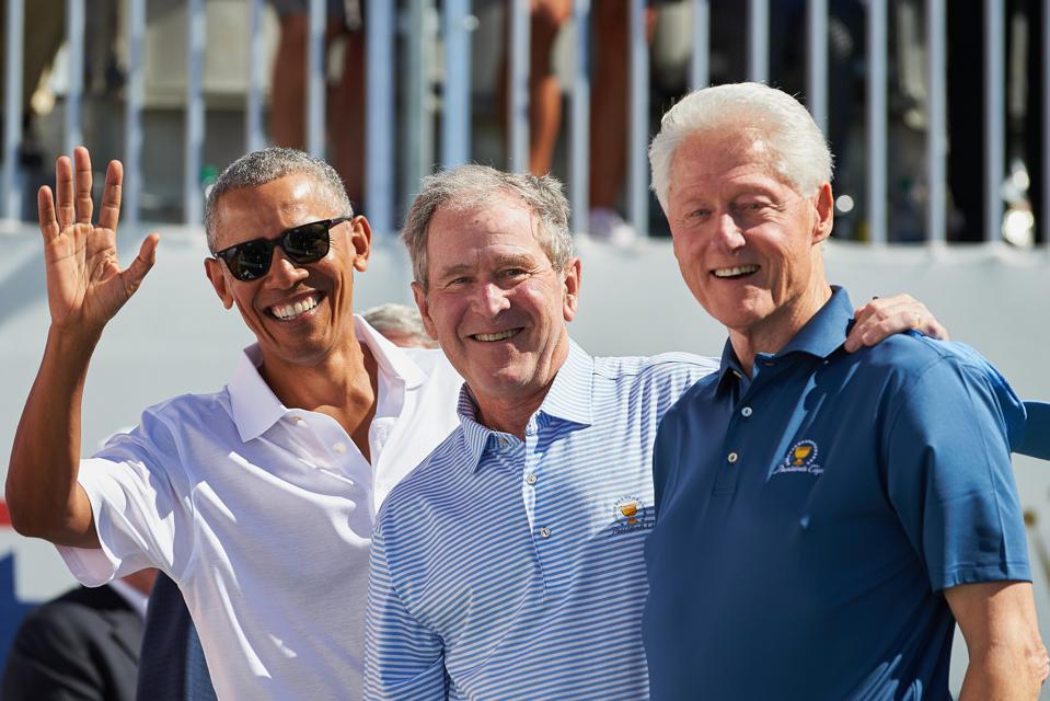 The three most recent former presidents: Obama, Bush and Clinton